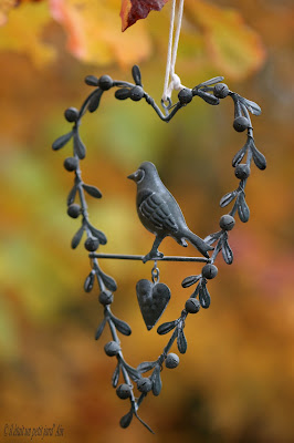 décoration jardin fer suspension oiseau