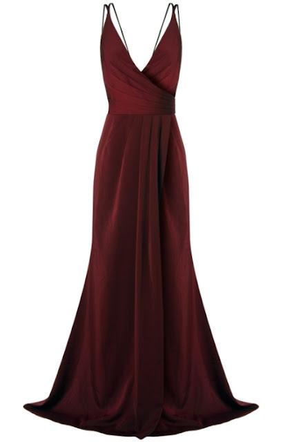 vestido de festa vinho ou marsala