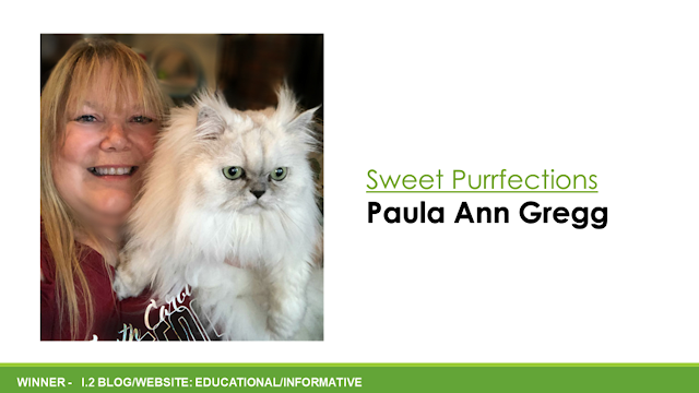 Winning slide for MUSE medallion with Paula Gregg and her Persian Cat, Truffle