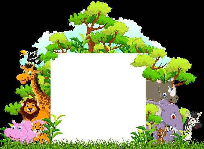 animal con ilustración de plantilla de árboles, divertidos dibujos animados de animales, una variedad de animales del bosque, hoja, fotografía png by: pngkh.com
