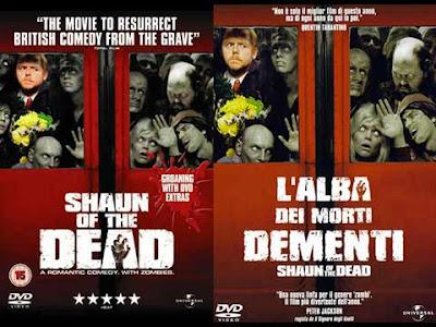La locandina di '''Shaun of the dead'', in italiano ''La notte dei morti dementi''