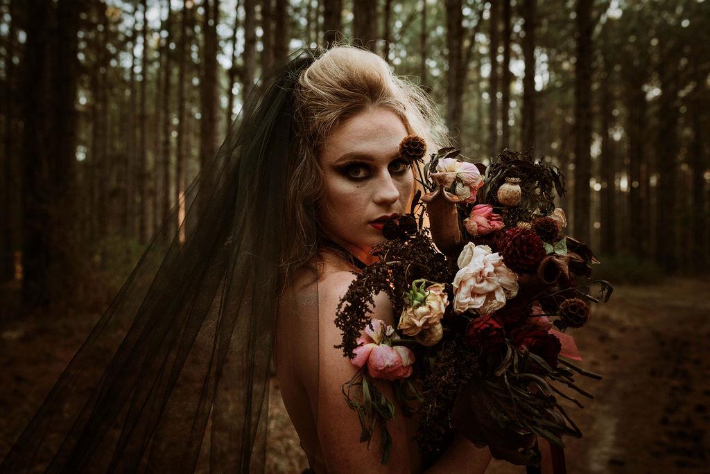 BRIDAL SHOOT: THE GIRL IN THE WOODS   DARK HALLOWEEN BRIDE BRISBANE QLD
