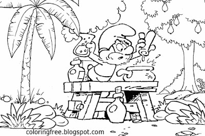 Discover how to draw papa Smurf coloring pages printable Smurfs the lost village tree easy landscape