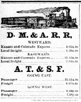 May 1888 rail timetable, The Leoti Transcript, front page, col. 1.