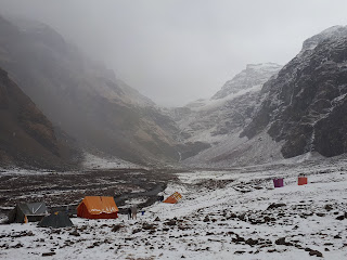 Snow at Rupin Pass Lower Base Camp