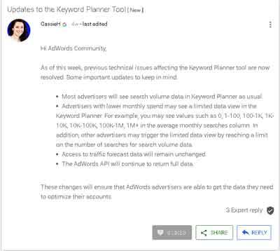 Pembaruan Kebijakan Google Keyword Planner& Adwords