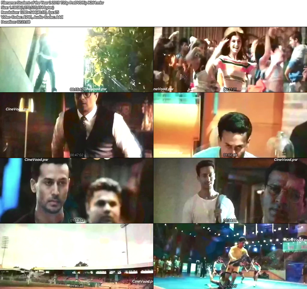 Student of the Year 2 2019 720p PreDVDRip X264   480p 300MB   100MB HEVC Screenshot