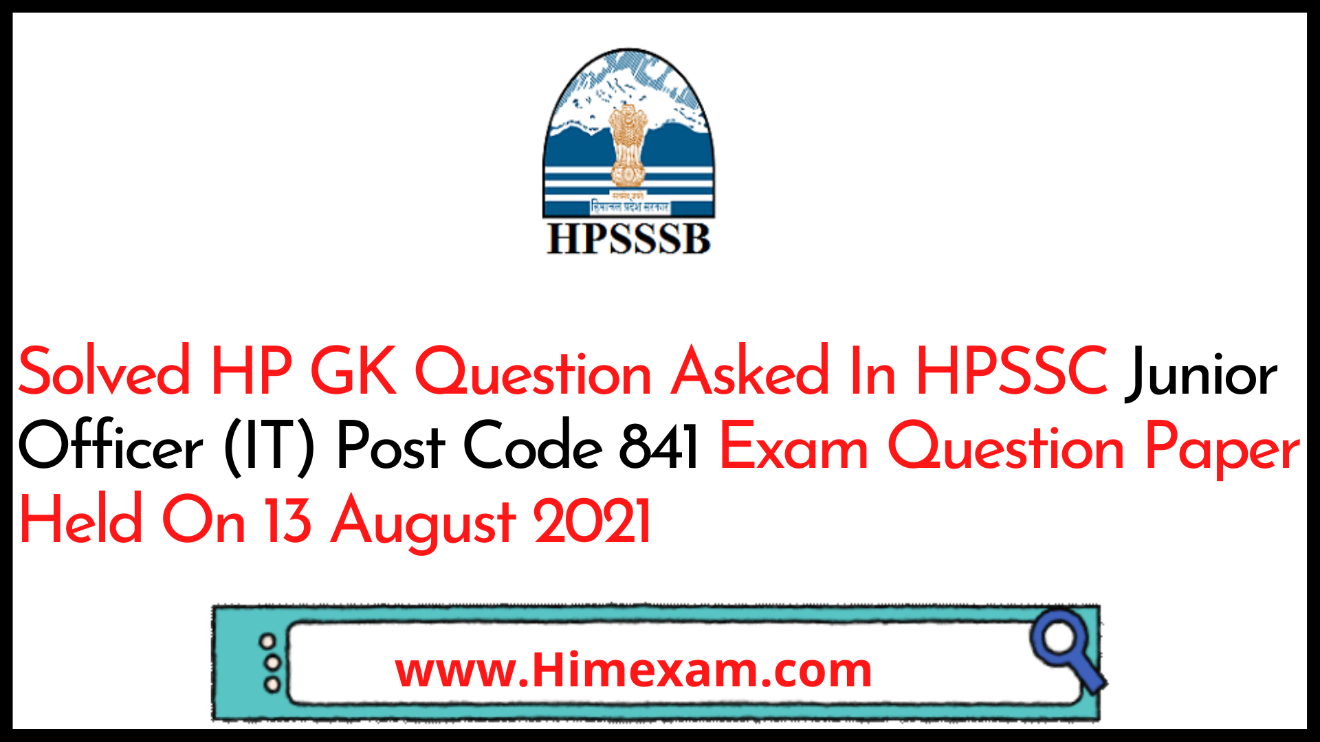 Solved HP GK Question Asked In HPSSC Junior Officer (IT) Post Code 841  Exam Question Paper Held On 13 August 2021