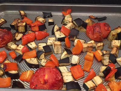 roasted vegetables on a bakig tray