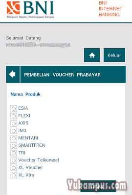 pilih provider pulsa internet banking bni