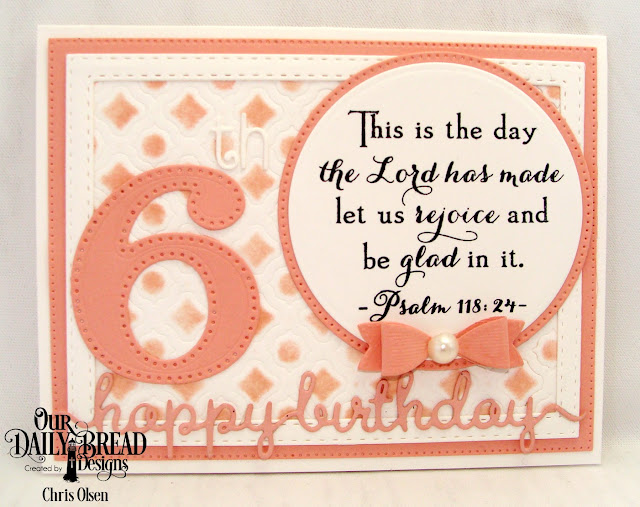 Chris Olsen, Our Daily Bread Designs, Celebration stamp set and Large Numbers dies as well as the Pierced Rectangles dies, Double Stitched Rectangles Dies, Pierced Circles dies, Circles dies, Mini Bow die, Happy Birthday Script die, and Boho Background die