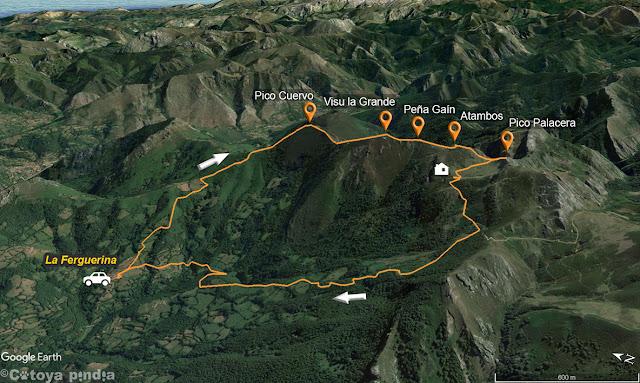 Mapa de la ruta al Visu la Grande desde la Felguerina en el Parque Natural de Redes