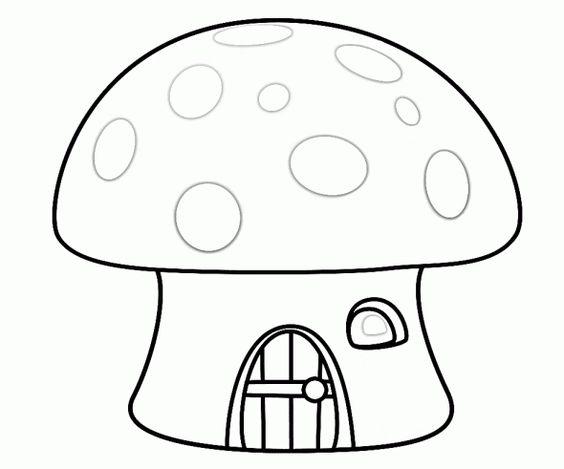 Hình tô màu ngôi nhà nấm đẹp