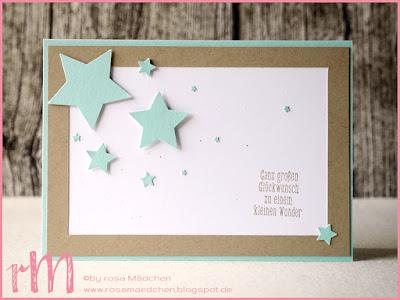 Stampin' Up! rosa Mädchen Kulmbach: Babykarte mit Sternen und Spruch aus Tierische Glückwünsche