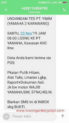 contoh panggilan tes psikotes PT Yamaha Indonesia Motor Manufacturing ( PT YIMM DAN PT YIMMWJ )