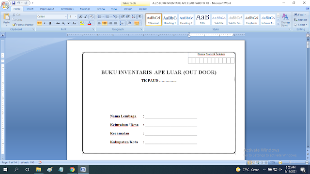 Download Contoh Buku Inventaris APE Luar Ruang Sekolah PAUD TK KB RA