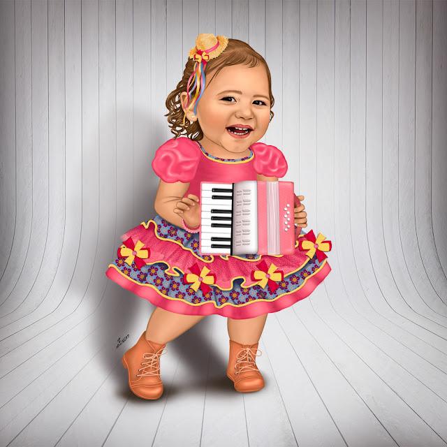 menina com sanfona rosa - vestido de festa junina