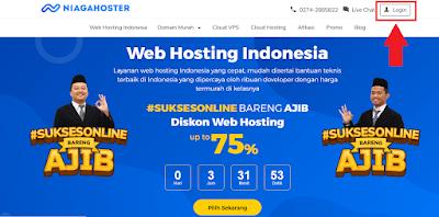 Halaman login member hosting di Niagahoster