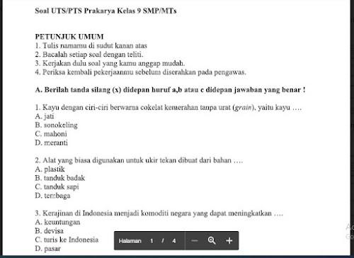 Soal PTS Prakarya Kelas 9 Sem. Ganjil Kurikulum 2013