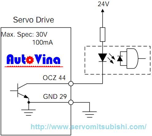 Sơ đồ đấu nối ngõ ra encoder xung Z dạng Open-colector của Drive theo phản hồi từ động cơ