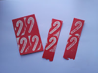 Candy cane stamp on red card with white heat embossing