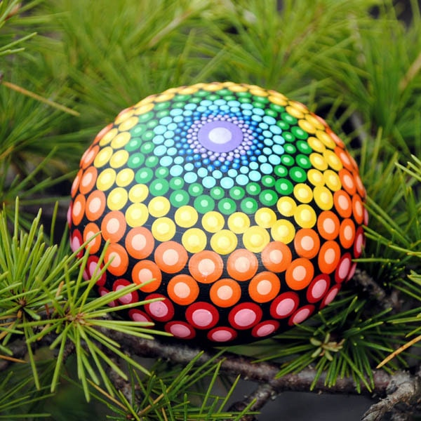 magical rainbow dot mandala painted stone for sale on etsy