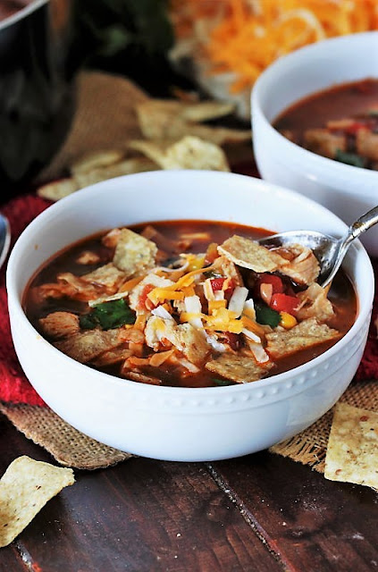 Bowl of Chicken Tortilla Soup with Spoon Image