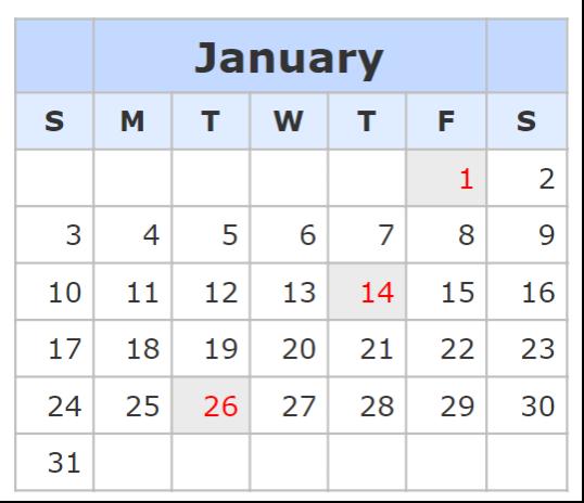 Kalender January 2021