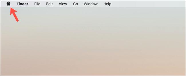انقر فوق شعار Apple على سطح مكتب Mac