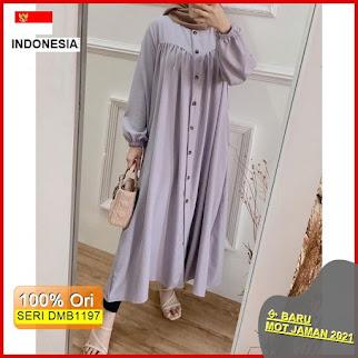 Dmb1197 Fashion Atasan Mozya Long Tunik Full Kancing Basic Premium Wanita Fashion Hits Ootd Selebgram