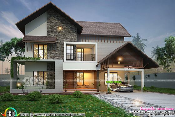 2900 square feet 4 BHK sloped roof house