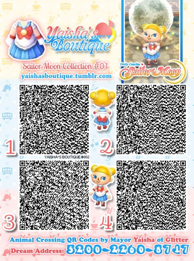 QR codes Animal Crossing pour une robe Sailor Moon
