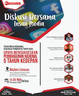 Sukseskan Indonesia Maju, Insan Media Solo Gelar Diskusi Tumbuhkan Optimisme Dukumg Kebijakan Pembangunan Nasional