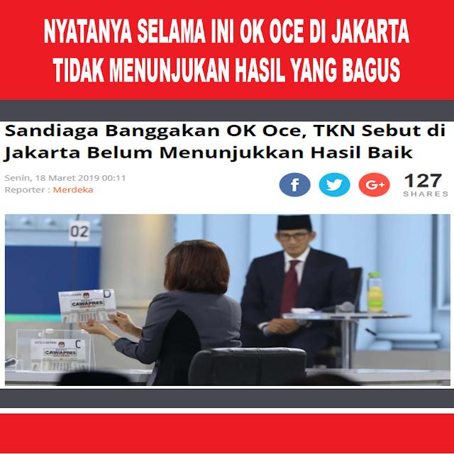 Sandiaga Banggakan OK OCE, TKN Sebut di Jakarta Belum Menunjukkan Hasil Baik