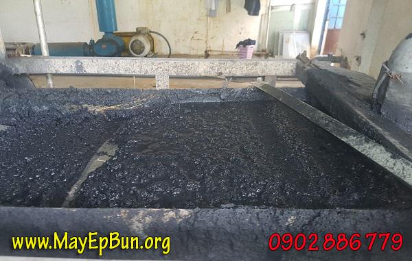 Bể bùn đã bị đầy do máy ép bùn băng tải cũ không đáp ứng nổi công suất yêu cầu