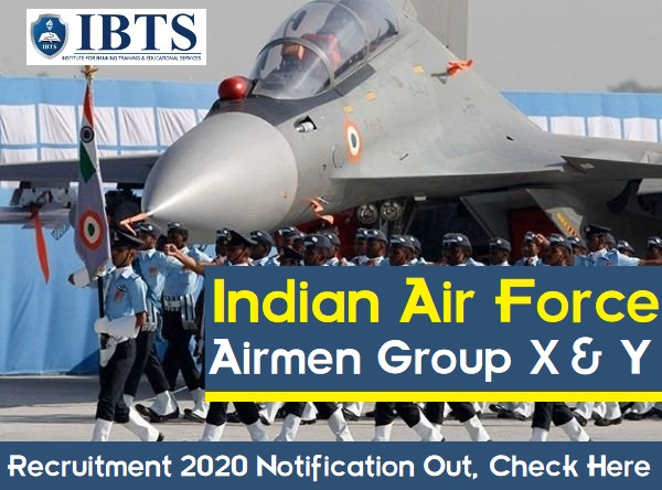 Indian Air Force Airmen Group X & Y Recruitment 2020 Notification Out, Check Here
