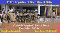 Police Recruitment 2016 For 5000+ Constables/Armed Police Posts Apply Online Here