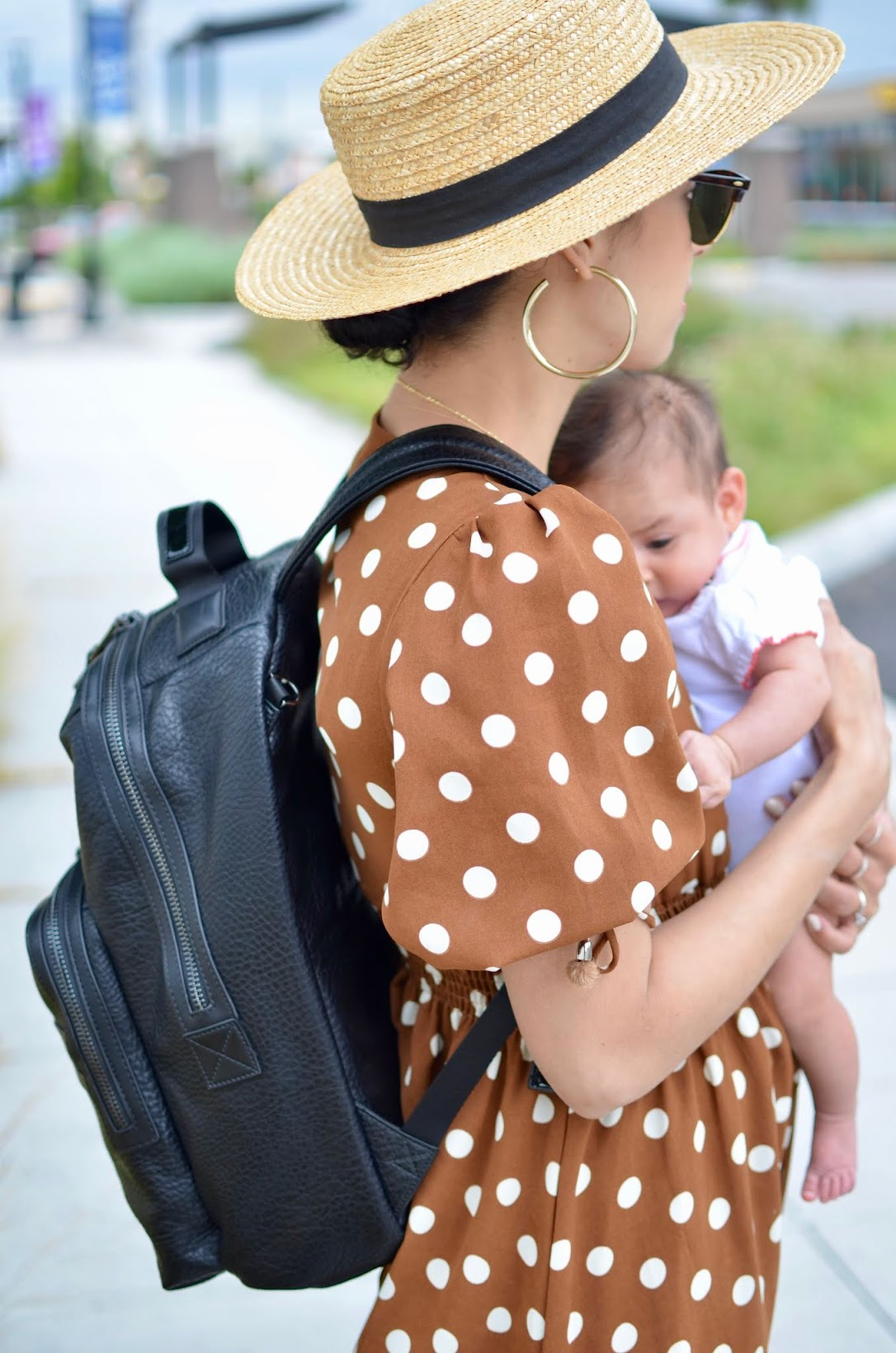 mom style, newborn mom style, Tiba + Marl diaper bag, chicwish, polka dot dress, FarFetch,