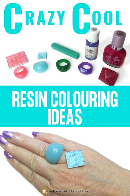 Crazy Cool Resin Colouring Ideas Inspiration Sheet featuring resin rings coloured with household items