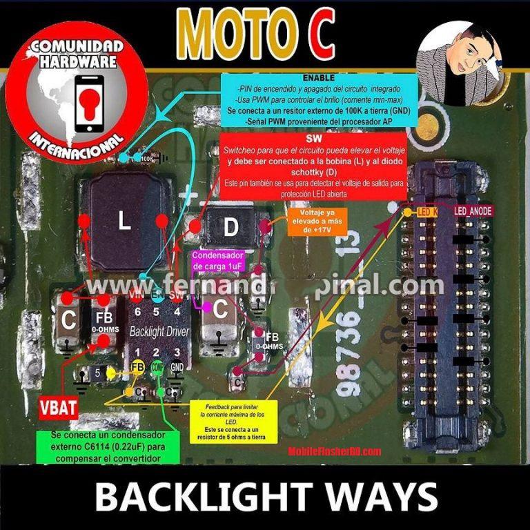 Motorola Moto C Backlight Problem Fix 100% Working Jumper Ways Repair  Display Light Ways