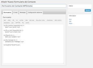 Crear formularios con Contact Form 7 y Gutenberg