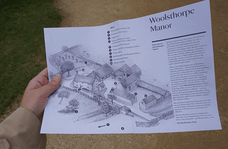 Mapa da casa de Isaac Newton em Woolsthorpe