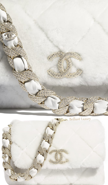White Chanel strass shearling flap bag #brilliantluxury