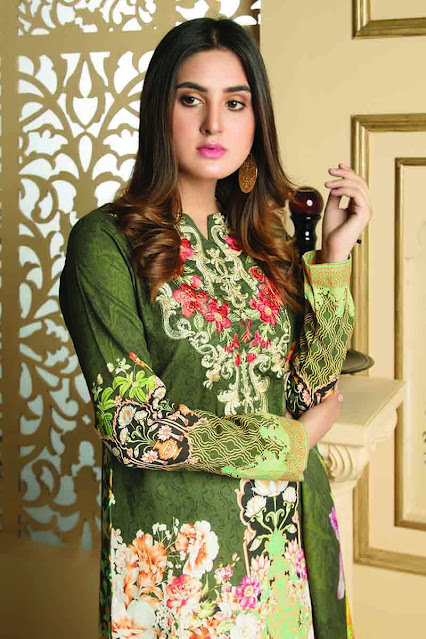 Gul ahmed winter unstitched green colour khaddar printed suit