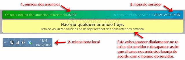 neobux dinheiro ptc anúncios horário servidor server time