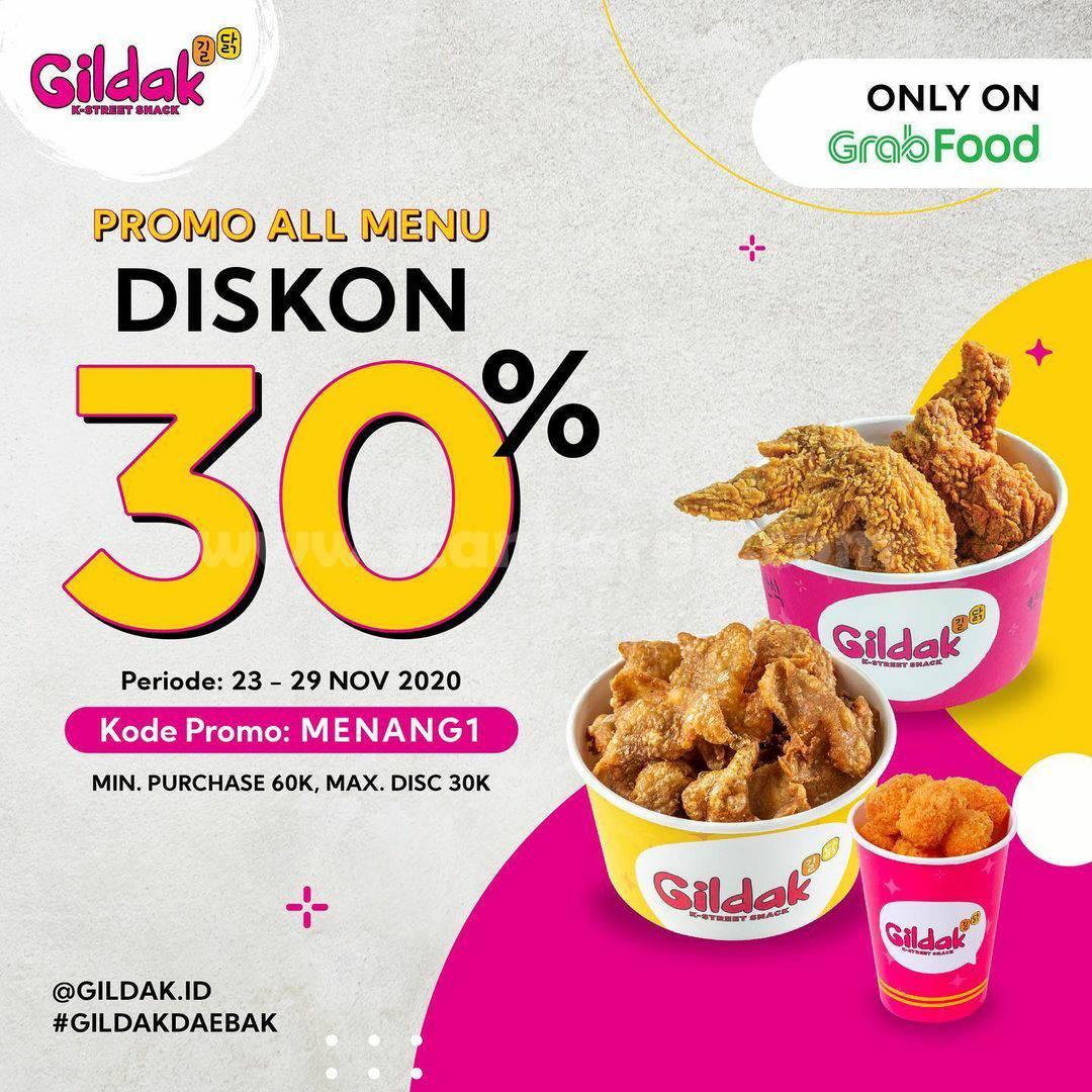 Gildak Promo All Menu Diskon 30% khusus Pemesanan via Grabfood*