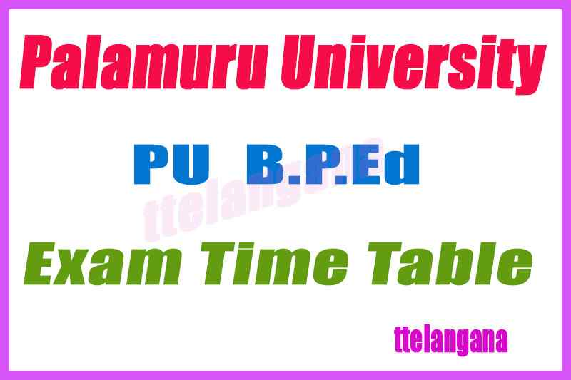 Palamuru University B P Ed  Regular Exam Time Table