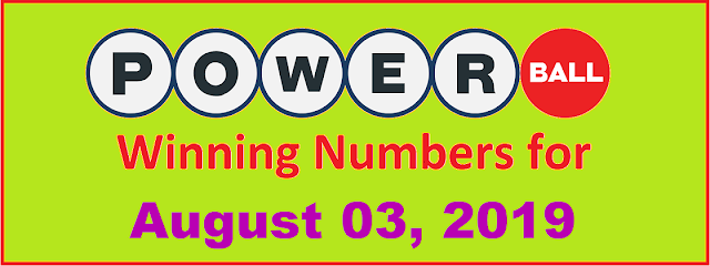 PowerBall Winning Numbers for Saturday, August 03, 2019