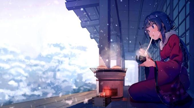 Animated Wallpaper, Anime, Girl Snow, Winter, Tea
