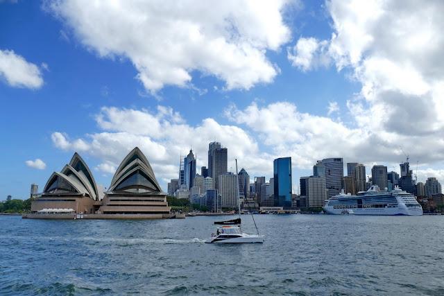 Sydney, Skyline, Opernhaus, Kreuzfahrtschiff, Meer, Sicht, Aussicht
